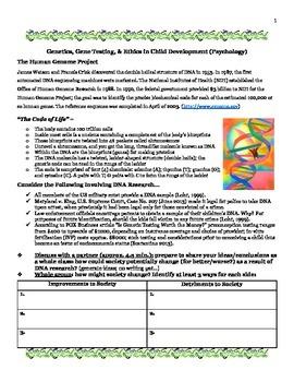 Child Development: Ethics/Genetics Testing Informational Article Analysis