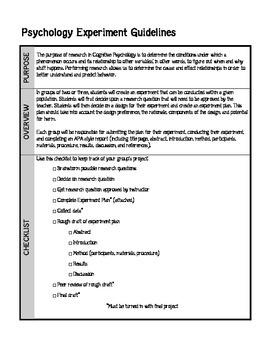 Psychology Experiment Project Plan