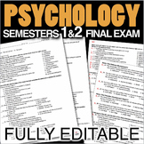 Psychology Final Exams - Semester 1 & 2 (Over 330 Editable Questions)