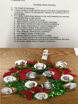 Psychology Holiday Final Rubric Review Content Fun Application Activity