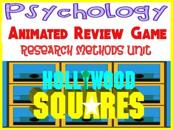 Psychology Hollywood Square ANIMATED Review Game-Research Methods unit