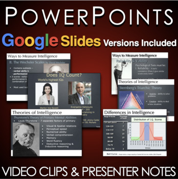 Psychology: Intelligence PowerPoints w/Lecture Notes & Video Links
