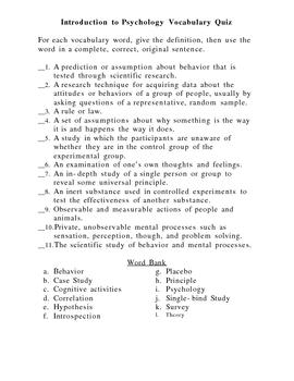 Psychology Introductory Unit Vocabulary Quiz