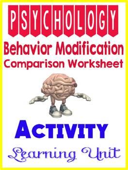 Psychology Learning Unit Behavior Modification Comparison Activity Worksheet