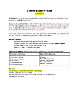 Psychology Learning Unit Project (PDF Version)