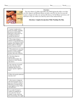 Psychology Lorenzo's Oil Movie Guide with KEY for Biological Bases