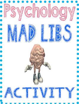 Psychology Mad Lib Activity with Rubric and examples