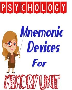 Psychology Memory Unit Mnemonic Device Activity Lesson Plan Rubric