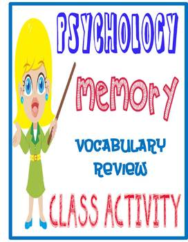 Psychology Memory Unit Vocabulary Review Game