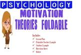 Psychology Motivation Unit Theory Foldable Activity with E