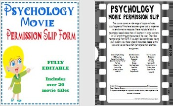 Psychology Movie or Video Guide Permission Slip Form Fully Editable