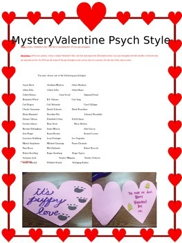 Psychology Mystery Valentine's Day Activity to review psyc