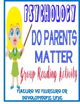 Psychology Nature Nurture Development Do Parents Matter  Analysis Activity