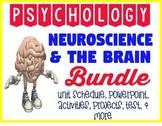 Psychology Neuroscience & Brain unit BUNDLE powerpoint activities project test