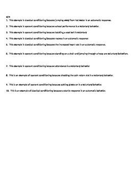 Psychology - Operant vs. Classical Conditioning scenarios (w/ key)