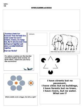 Psychology - Optical Illusions activity