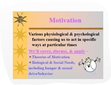 Psychology PPT: Theories of Motivation w/Maslow's Hierarchy of Needs