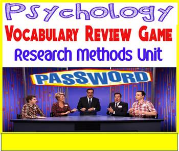 Psychology Password Review Game Research Methods Unit