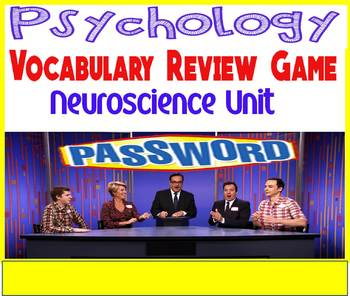 Psychology Password Vocabulary Review Game Neuroscience Unit