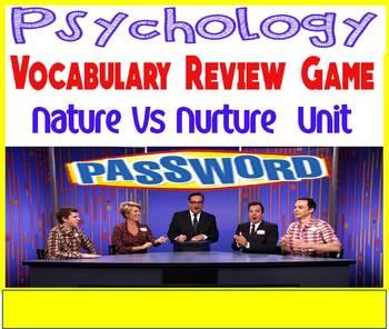 Psychology Password  Vocabulary Review Game for Nature vs Nurture Unit
