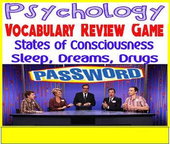 Psychology Password Vocabulary Review Game for the States of Consciousness Unit