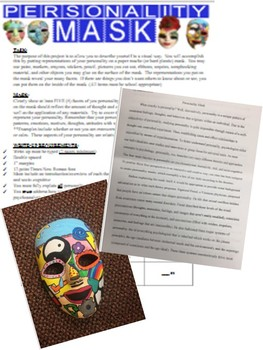 Psychology Personality Mask Project with student example and rubric