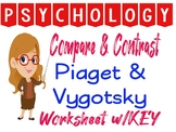 Psychology Piaget vs Vygotksy Compare Contrast Worksheet f