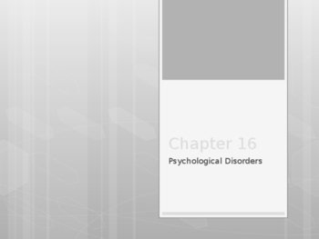 Psychology - Psychological Disorders