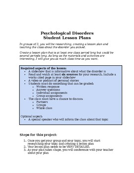 Psychology: Psychological Disorders Group Project Lesson Plan