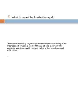 Psychology: Psychotherapeutic Procedures