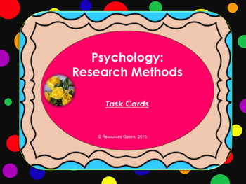 Psychology Research Methods: Task cards