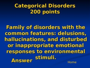 Psychology Review Game: Unit 7 Abnormal Psychology