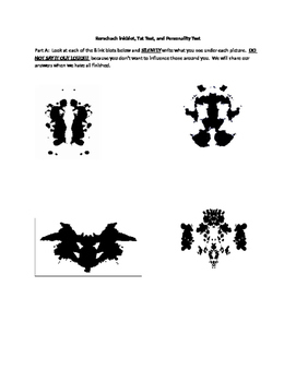 Psychology Rorschach Inkblot, TAT Test, and Personality Test