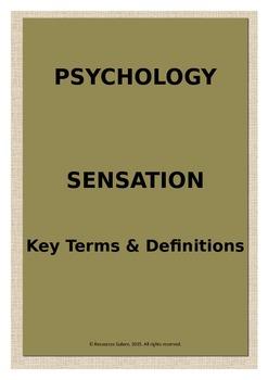 Psychology: Sensation - Key Terms & Definitions