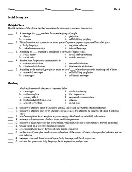 Psychology - Social Perception (Quiz or Study Guide)