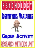 Psychology Statistics Identifying variables group activity with answer key