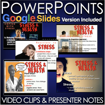Psychology: Stress and Health PPTs w/Presenter Notes & Video Clip + Assessment