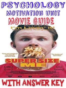 Psychology Super Size Me Documentary Movie Guide with Key for Motivation Unit