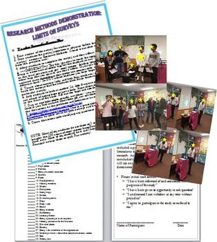 Psychology Survey Limitation Demonstration Lesson Research Methods Unit
