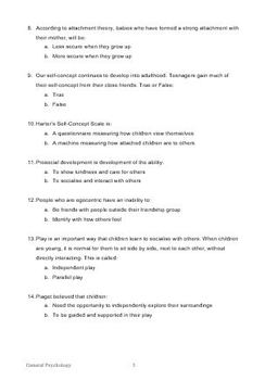 Psychology Task - Topic Test Unit 2 - Developmental Psychology