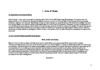 Psychology Teaching Unit: Unit 3, Area of Study 1 Mind, Brain and Body