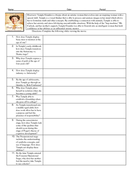 Psychology Temple Grandin Movie Guide for Developmental with KEY