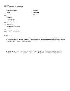 Psychology Test: Stages of Development (Erikson, Kohlberg,Piaget)