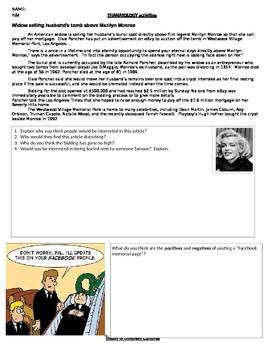 Psychology - Thanatology (Study of Death) worksheet