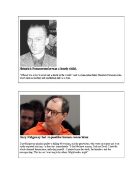 Psychology - The Psychology of Serial Killers matching activity
