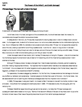 Psychology - The Story of Phineas Gage (Warm-Up / Bell Ringer) Activity