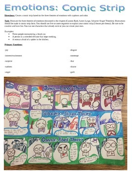 Psychology Theory of Emotions Comic Strip Activity