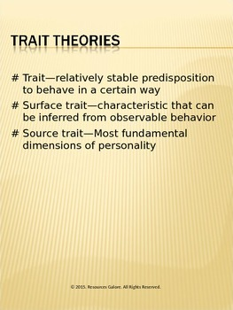 Psychology: Trait Theories of Personality