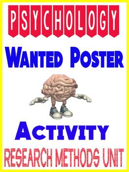 Psychology Unethical Experiment Wanted Poster write up Activity Rubric