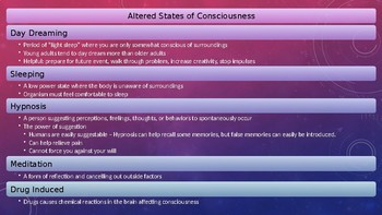 Psychology - Unit 5 - Altered States and Consciousness